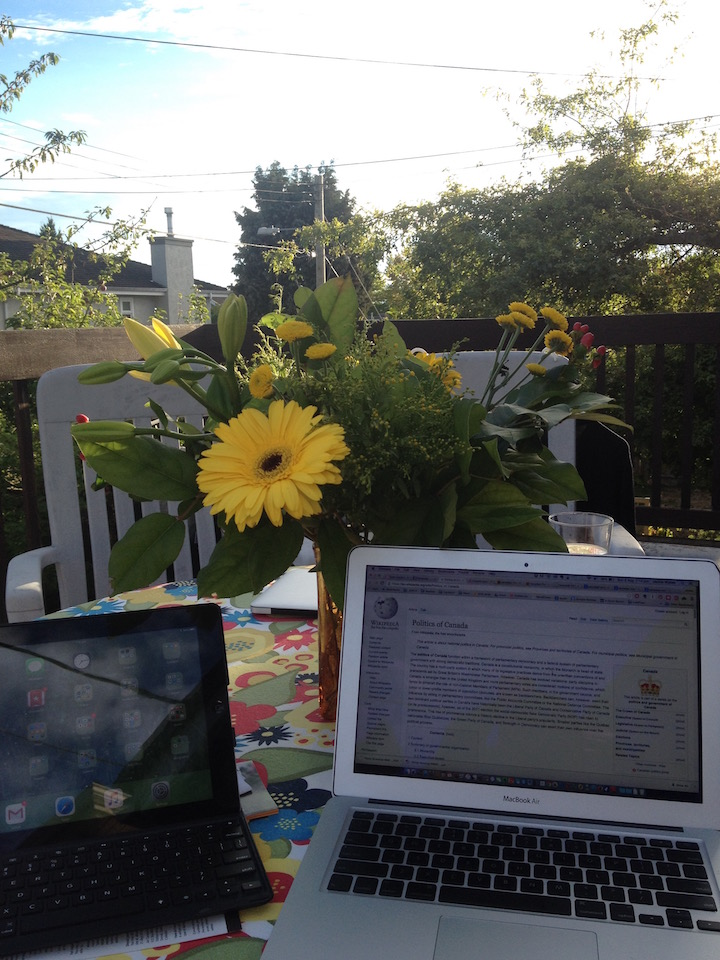 The back deck is ideal for working and relaxing in the warmer months